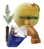 tree, recycling bin, faucet, and globe